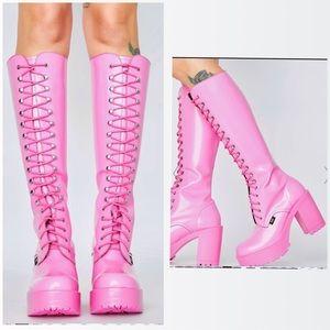 Pink leather platform high boots ROC dolls kill